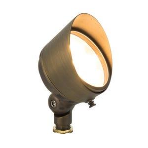 VOLT® G3 Infiniti 60 integrated LED brass spotlight with adjustable glare guard illuminated.