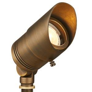 VOLT® All-Star brass spotlight with adjustable glare guard illuminated.