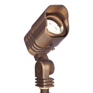 VOLT® MR16 Lusitano brass spotlight with adjustable glare guard illuminated.