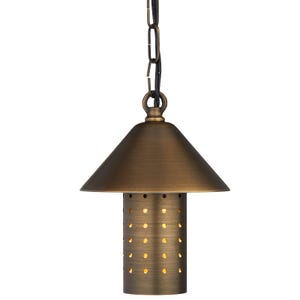 VOLT® Tranquility brass hanging light with lamp shade illuminated.