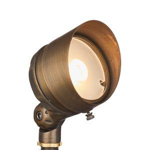 VOLT® G4 Infiniti 60 integrated LED brass spotlight with adjustable glare guard illuminated.