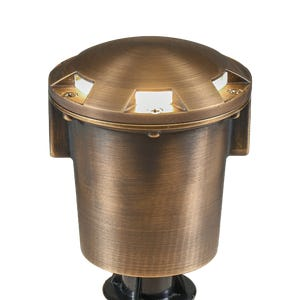VOLT® Salty Dog MR16 Turret Top brass in-grade well light features a turret top glare guard to direct light outward rather than upward.