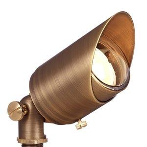 VOLT® Top Dog brass spotlight with adjustable glare guard illuminated.