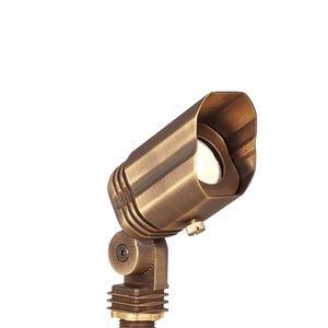 VOLT® MR11 Lusitano brass spotlight with adjustable glare guard.