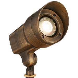 VOLT® 120V 12W Integrated LED Brass Spotlight with Knuckle angled view