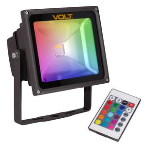 VOLT® RGBW 15W integrated flood light with yoke mount and color controller.