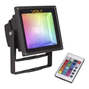 VOLT® 120V RGBW 15W Integrated LED Flood Light with Yoke Mount (Aluminum Bronze)