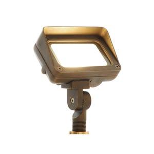 VOLT® 120V 9W LED Brass Flood Light with Knuckle Mount illuminated