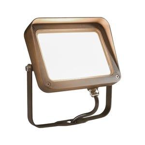 VOLT® 27W integrated brass LED flood light with yoke mount.