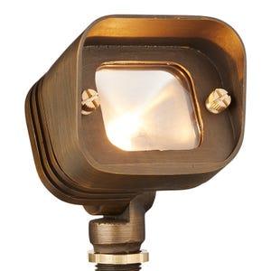 VOLT® Big Splash brass integrated LED Flood light illuminated.