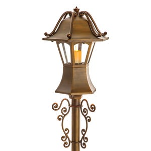 VOLT® Coachman LED brass path light is a high-end elegant landscape light used for lighting pathways, sidewalks, and walkways.