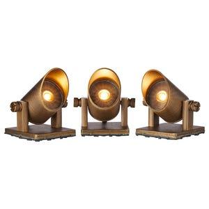 VOLT® mini brass LED underwater pond lights (set of 3) illuminated.