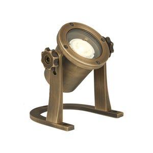 VOLT® Salty Dog MR11 brass underwater light illuminated.