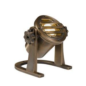 VOLT® Salty Dog MR11 brass underwater light with grated glare guard pointed upward.