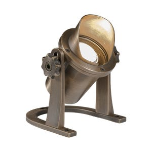 VOLT® Salty Dog MR11 brass underwater light with shielded glare guard pointed upward.