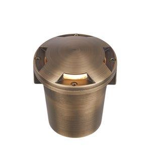 VOLT® Salty Dog MR11 Turret Top brass in-grade well light illuminated.