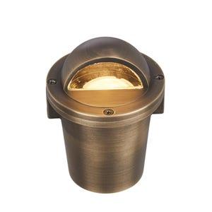 VOLT® Salty Dog MR11 Beacon brass in-grade well light illuminated.