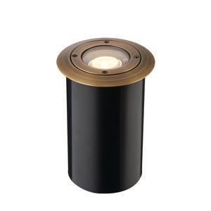 VOLT® Salty Dog MR11 brass well light illuminated.
