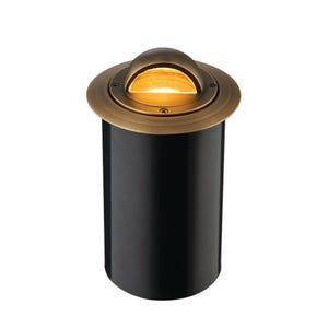 VOLT® Salty Dog MR11 brass well light with beacon glare guard illuminated.